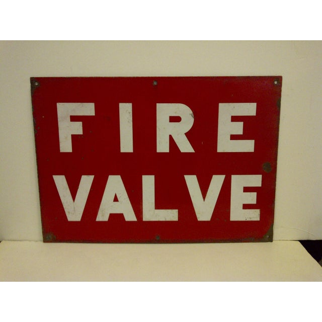 """A vintage porcelain safety sign """"Fire Valve,"""" Circa 1930. The sign is in vintage condition. Very good for its age."""
