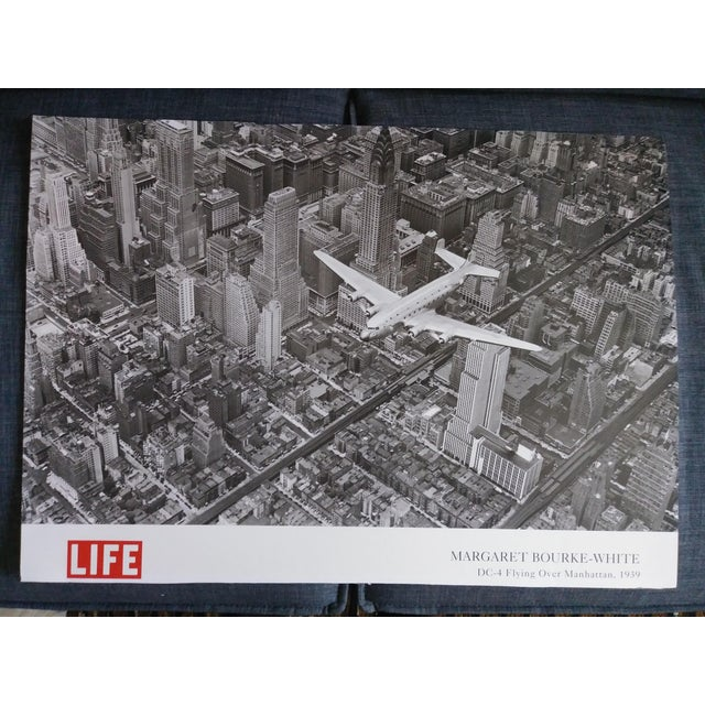 Late 20th Century 1939 Vintage Margaret Bourke White DC-4 Flying Over Manhattan Poster For Sale - Image 5 of 6