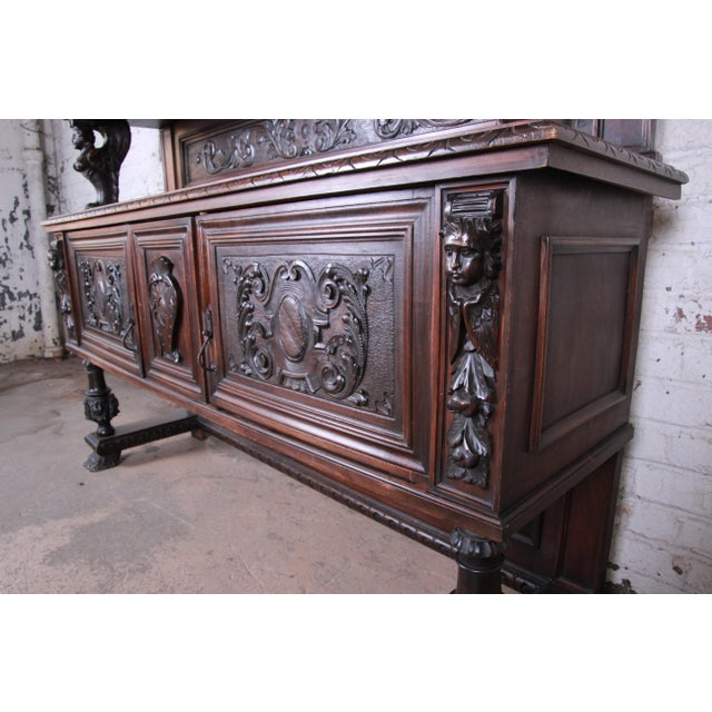 Black 19th Century French Black Forest Carved Walnut Sideboard or Bar Cabinet For Sale - Image 8 of 13
