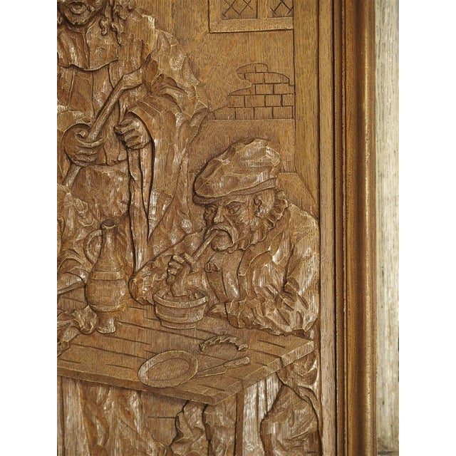 Wood Set of Three Bas Relief Carved Belgian Panels, Circa 1930 For Sale - Image 7 of 13