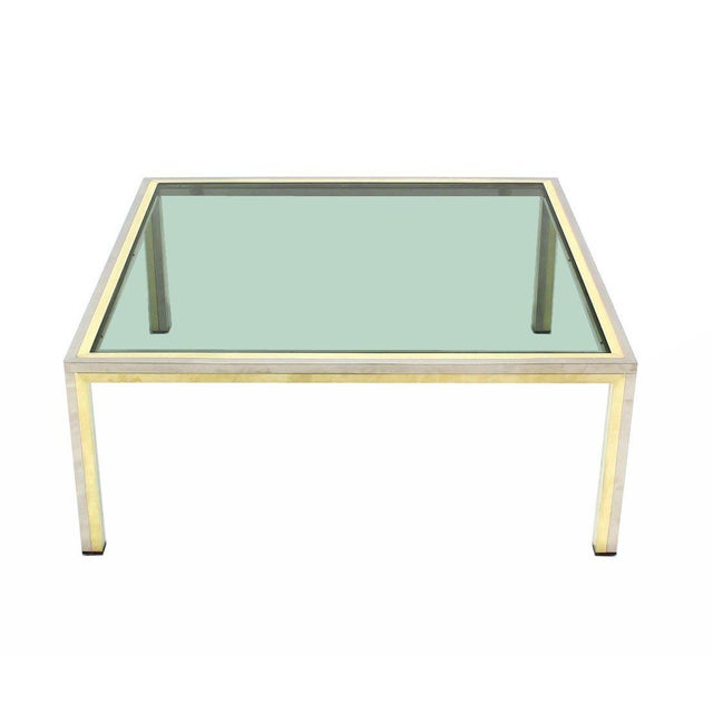 Romeo Rega Square Brass, Chrome and Glass Coffee Table by Romeo Rega For Sale - Image 4 of 7