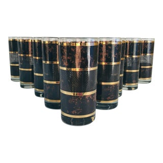 Mid-Century Modern Georges Briard Tortoise Highball Glasses - Set of 12 For Sale