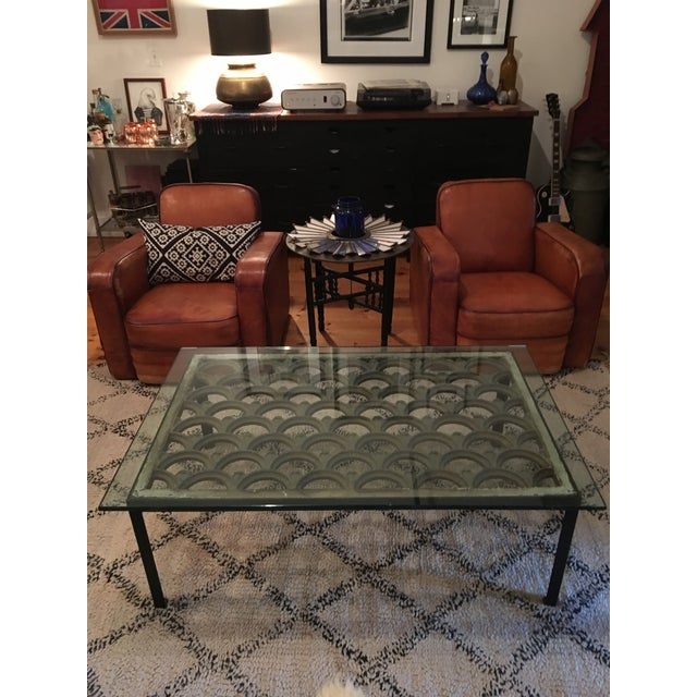 Industrial Iron & Glass Top Coffee Table - Image 2 of 5