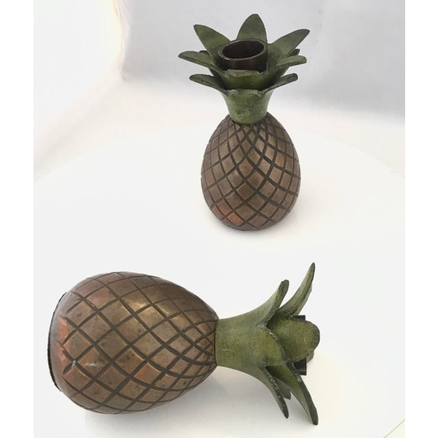 Tropical vibes for these lovely Pineapple candle holders. Nicely detailed, the base is copper with patina, nice green...