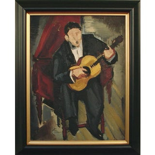 Circa 1940 Impressionist Style Figurative French Guitarist Oil Painting on Board, Framed For Sale