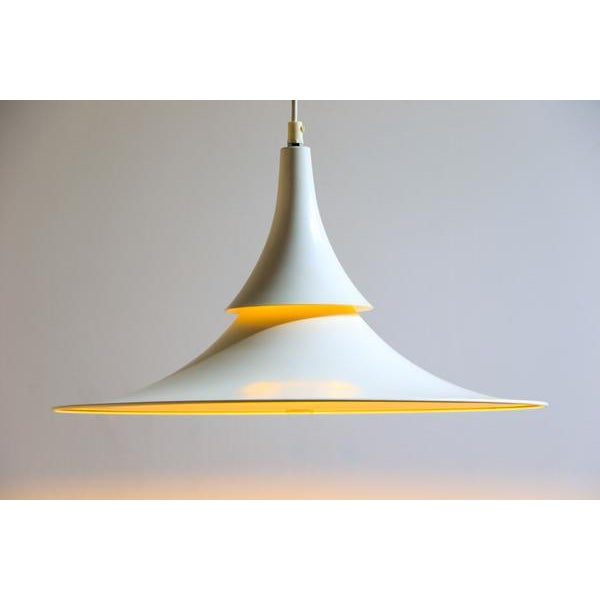 Hamalux Fluted White Hanging Lamp For Sale - Image 4 of 6