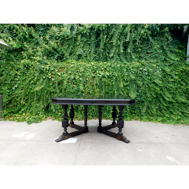 Rustic Antique Spanish Revival Carved Dining Table For Sale - Image 3 of 12