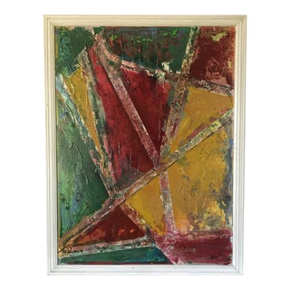 1980s Original Abstract Oil on Board Painting For Sale