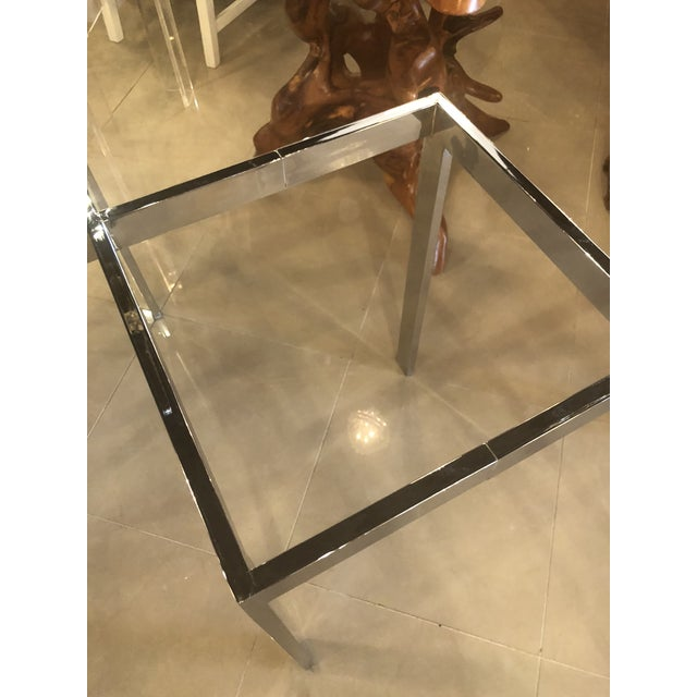 Vintage Milo Baughman for Thayer Coggin x, criss cross, zig zag chrome dining table base. Glass top not included.