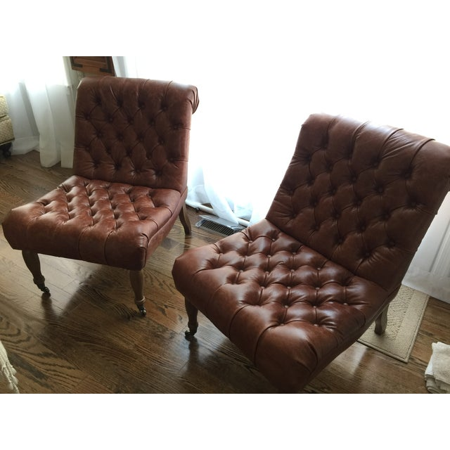 Pottery Barn Carolyn Tufted Chairs - A Pair - Image 3 of 8