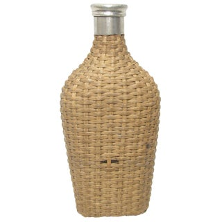 French Wicker & Glass Flask For Sale