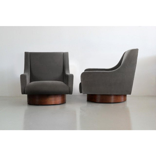 Swivel Lounge Chairs - Walnut and Charcoal Cotton Velvet - A Pair For Sale - Image 4 of 4