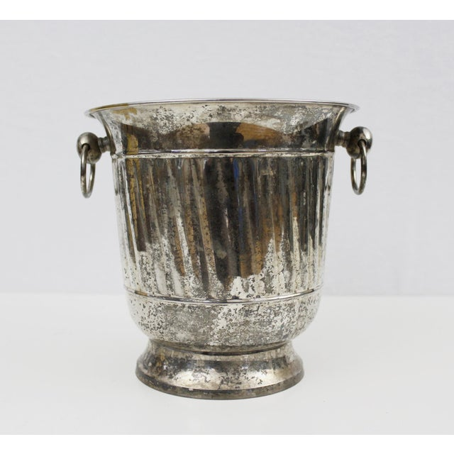 Art Deco Vintage Silver Plated Ice Bucket With Scoop Champagne Bucket Silverplate Godinger For Sale - Image 3 of 9