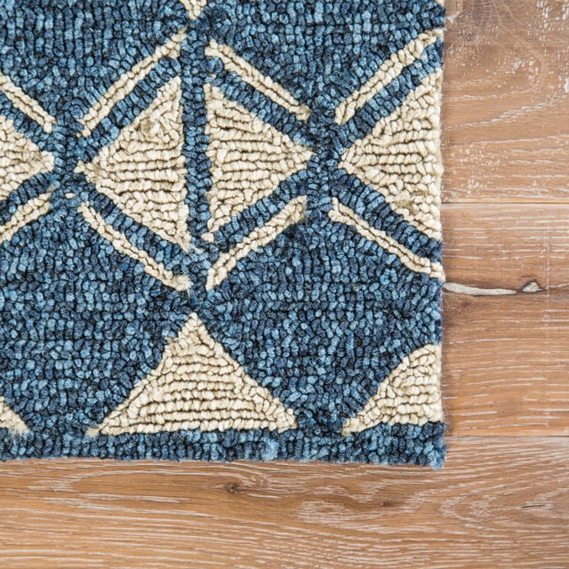 Contemporary Jaipur Living Botella Indoor/ Outdoor Geometric Blue/ Cream Area Rug - 7′6″ × 9′6″ For Sale - Image 3 of 6