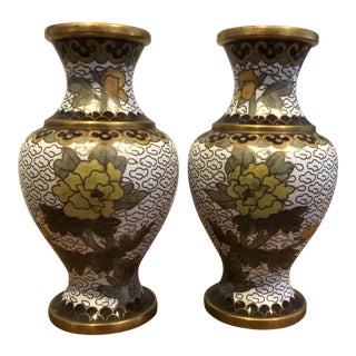 Petite Cloisonne Vases - a Pair For Sale