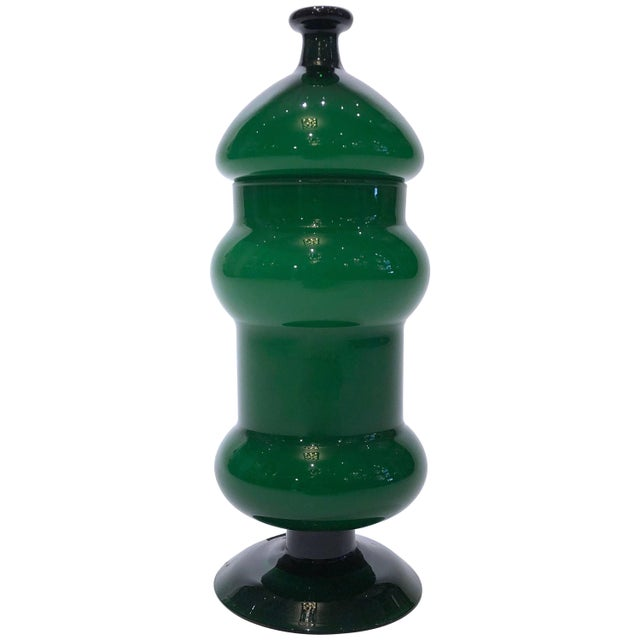 Vintage Emerald Green Glass Vase With Lid For Sale - Image 4 of 4