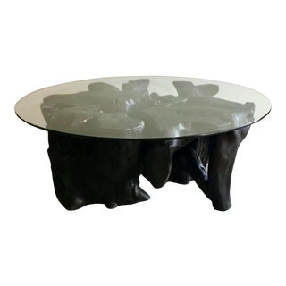 2010s Modern Ebony Wood Rootball Cocktail Table