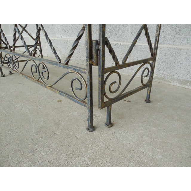 "Designer French Style Heavy Wrought Iron Glass Top Console 35""w X 12""d For Sale - Image 11 of 13"