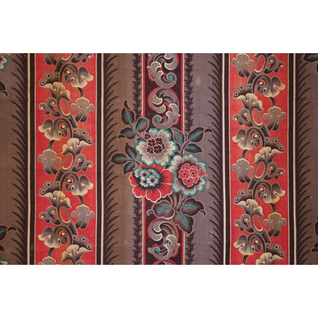 Red Antique French Fabric Rare Purple Red & Blue Madder Tones 1830 Roller Printed For Sale - Image 8 of 13
