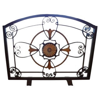 French Art Deco Wrought Iron Fireplace Screen Signed Szabo For Sale