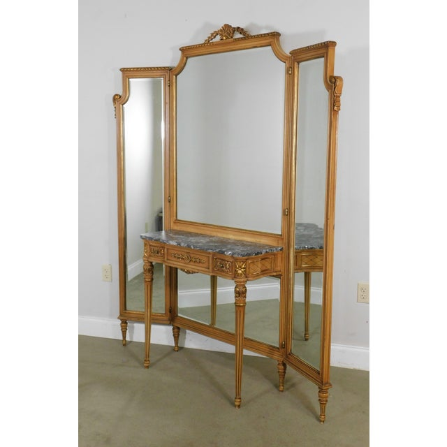 French 1920's Vintage French Louis XVI Style Tri-Fold Mirror with Dressing Table, Vanity For Sale - Image 3 of 13