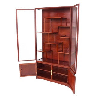 Mid-Century Modern Oriental Display Cabinet with Brass Hardware For Sale