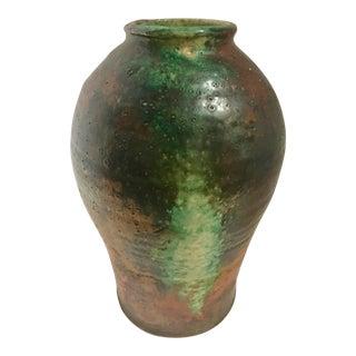 Vintage Large Green & Copper Glaze Ceramic Vase