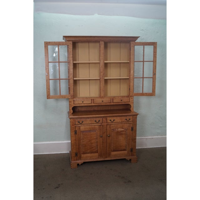Custom Crafted Tiger Maple Dutch Cupboard - Image 9 of 10