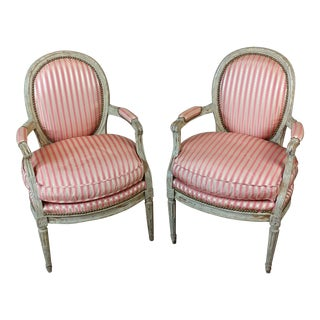 18th Century Louis XVI Striped Upholstered Fauteuils Chairs - A Pair