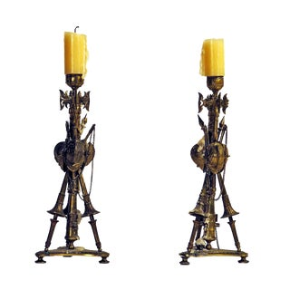 Circa 1850 Gilt Military Trophy Candlesticks - A Pair For Sale