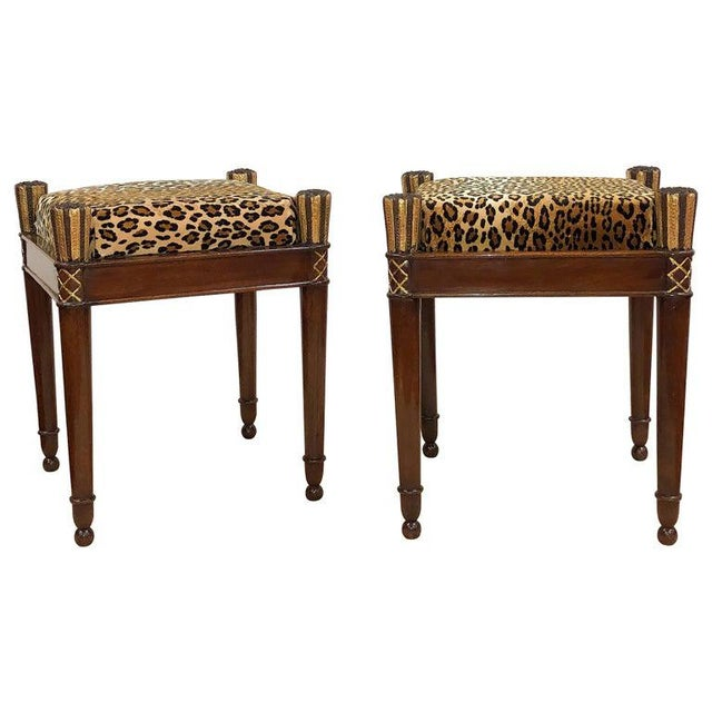 Tan Vintage French Directoire Stools- A Pair For Sale - Image 8 of 8
