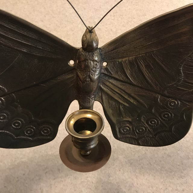 1970s Boho Chic Brass Butterfly Wall Candle Holder For Sale - Image 4 of 13