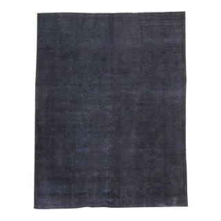 Distressed Overdyed Charcoal Gray Persian Rug with Modern Style For Sale