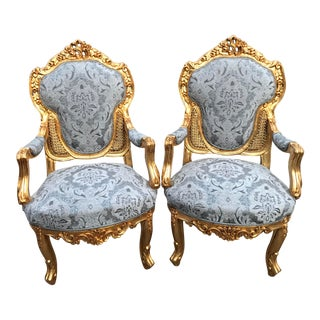 Vintage 1940's French Louis XVI Chairs- A Pair For Sale