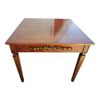 Walnut Game Table With Carving and 24k Gold Leaf Decoration For Sale