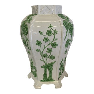 Large Italian Green and White Chinoiserie Vase For Sale