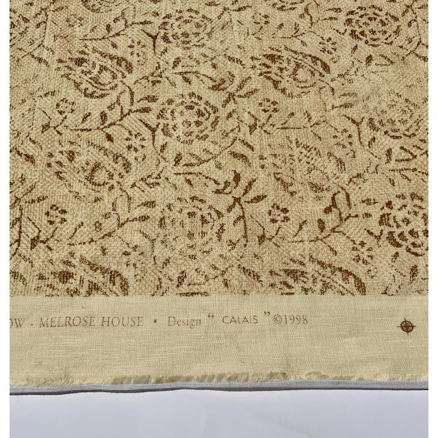 """1990s Rose Tarlow for Melrose House """"Calais"""" Fabric in Taupe/Natural 100% Hemp Lined For Sale - Image 5 of 9"""