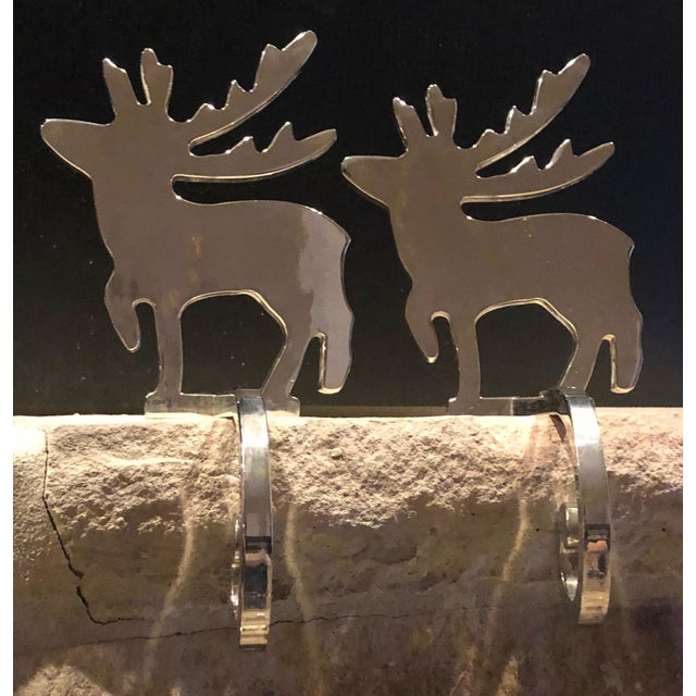 Vintage Stocking Hangers Christmas Reindeer Silver Long Handle Pair For Sale - Image 9 of 10