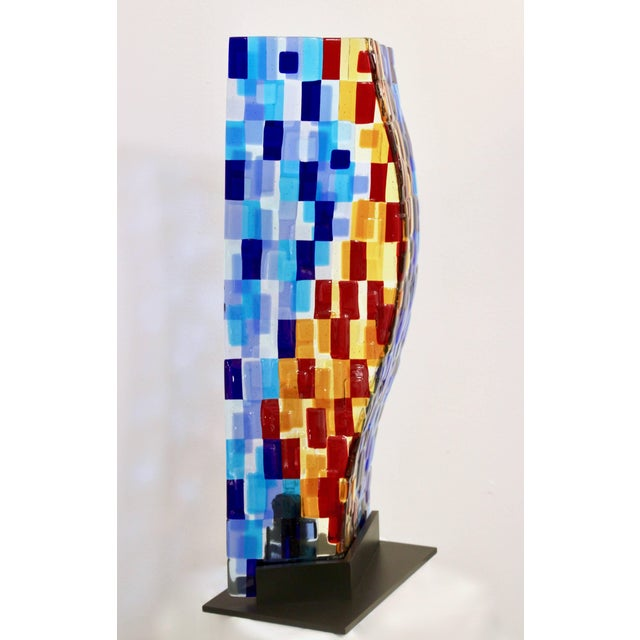 Turquoise Contemporary Italian Aqua Blue Red Yellow Murano Glass Mosaic Sculptural Lamp For Sale - Image 8 of 11
