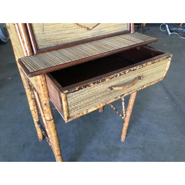 Aesthetic Movement Restored Tiger Bamboo Secretary Desk For Sale - Image 4 of 10