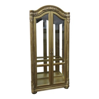 French Carved Distressed Gold Tall Large China Closet Display Cupboard For Sale