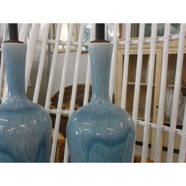 Mid-Century Modern Robin Egg Blue Glazed Lamps - A Pair - Image 8 of 10