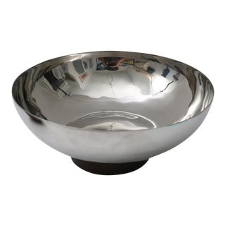 Atticus Polished Stainless Steel & Rose Wood Serving Bowl For Sale