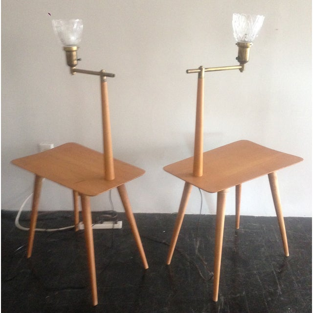 Mid-Century Maple Side Table Floor Lamps - A Pair - Image 6 of 11