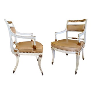 Stylish Pair of 1940's Hollywood Regency Painted Klismos Chairs For Sale