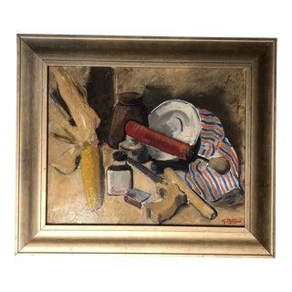 Vintage Modernist Still Life Original Signed Painting For Sale