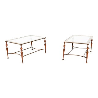 Pair of Bronze Arturo Pani Side Tables Mid Century Modern Hollywood For Sale