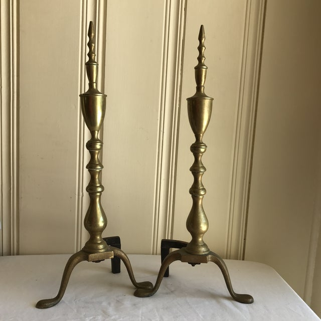 Mid-Century Modern Vintage Brass Fireplace Andirons - A Pair For Sale - Image 3 of 6