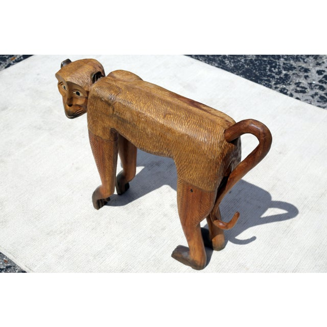 Vintage Hand-Carved Wood Chimpanzee Sculpture For Sale In Tampa - Image 6 of 7