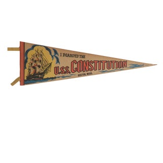 Vintage u.s.s. Constitution Boston, Ma Felt Flag Pennant For Sale